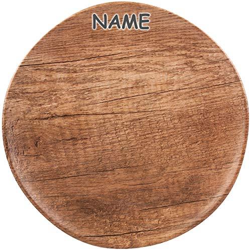 2 Stück _ Teller - Speiseteller / Dessertteller - Holz - Holzoptik - inkl. Name - Ø 22,5 cm - Melamin - rund - BPA frei - Brotzeitteller - FLACH - mehrweg für..
