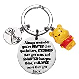 Winnie the Pooh Keyring Inspirational Gifts for Women Always Remember You're Braver than You Believe Keyrings Friendship Gift Pooh Bear Ornament
