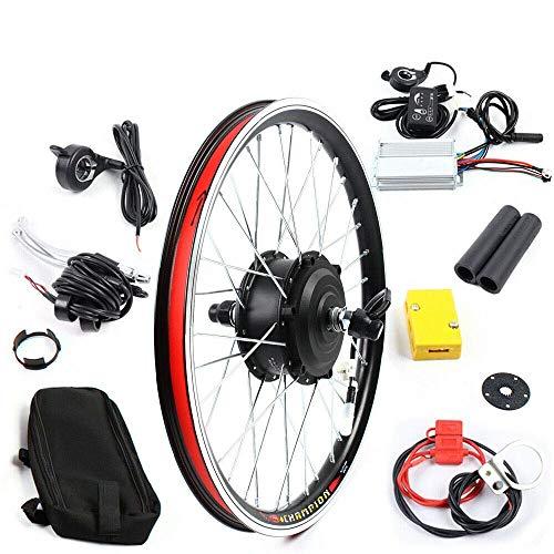 Jintaihua Bicicleta eléctrica de 20 pulgadas, 36 V, motor de rueda delantera, bicicleta eléctrica, kit de conversión sin escobillas, rueda delantera con indicador LED