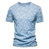Shirt Playa Hombre Manga Corta Verano Básica con Cuello Redondo Hombre T-Shirt Transpirable Estampado Personalidad Hombre Shirt Tendencia Vintage Clásica Hombre Shirt Ocio J-Blue 3 XL
