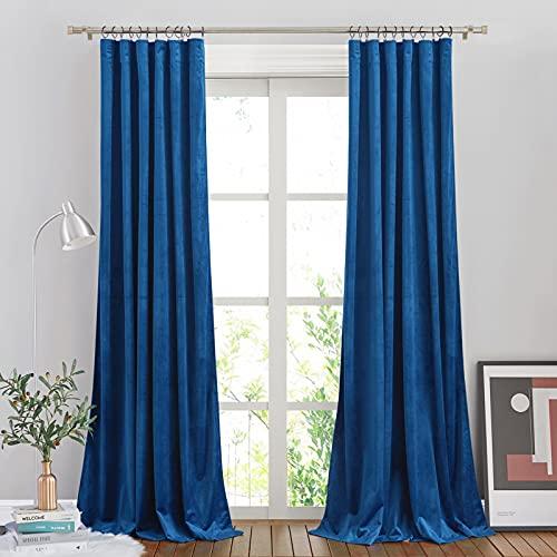 NICETOWN Royal Blue Velvet Curtains for Living Room, Soft and Elegant Heavy Matt Solid Window Velvet Curtains for Bedroom, Office & Hall (2 Pieces, 96 inches Long)