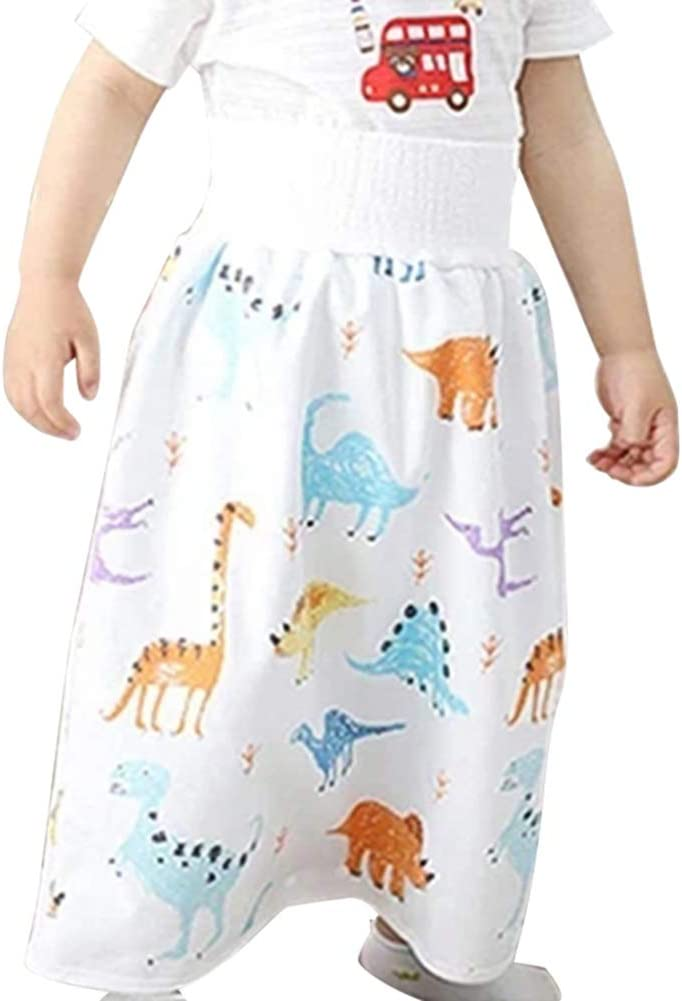 MGEY Bedwetting Underwear for Boys and Girl, Waterproof Diaper Skirt for Potty Training Baby Comfy Cloth Diaper Short 2 in 1 Boys Girls Training Skirt Comfy Reusable Diaper Cover Underwear(Animal L)