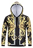 Pizoff Unisex Hip Hop Luxus Golden Sweatshirt Kapuzenpullover mit Bunt 3D Palace...