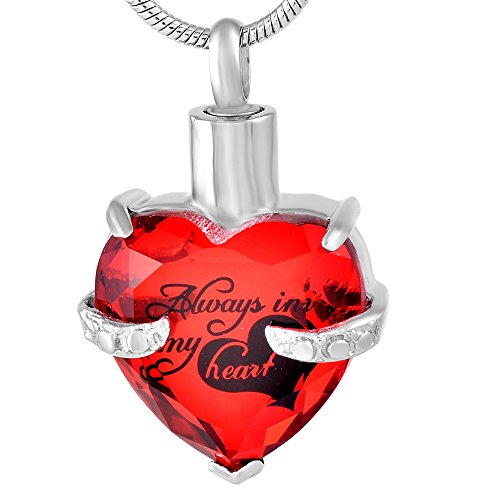 Eternal Harmony Heart Cremation Jewelry Urn for Ashes | Elegant Keepsake Urn Necklace with Stainless Steel Chain, Fill Kit and Beautiful Velvet Box | to Honor and Remember Your Loved One (Red)