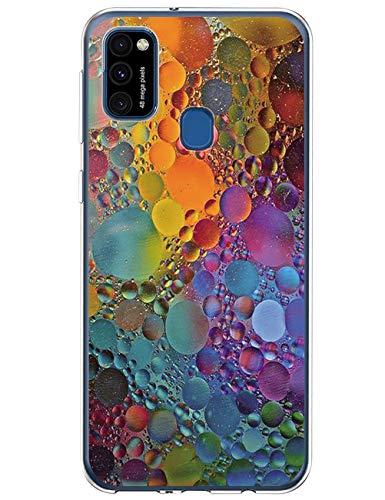 Blumen Hülle Kompatibel mit Samsung Galaxy M31 Hülle Silikon Weich TPU Transparent Handyhülle Bumper Hülle Stoßfest Anti-Gelb Marmor Handycase für Galaxy M31 Cover Handy Tasche