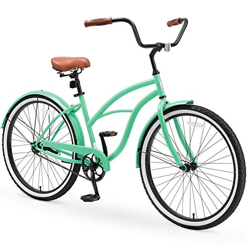 """sixthreezero Around The Block Casual Edition Women's Single Speed Beach Cruiser Bike, 26"""" Bicycle, Mint Green with Brown Seat and Brown Grips, One Size"""