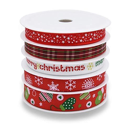Nastro natalizio in raso grosgrain, 25 metri di fiocco di neve, per confezioni regalo, matrimoni, lavori fai da te applicabili, decorazioni natalizie e compleanni [5 rotoli]