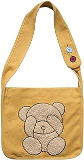 Fanspack Lady Shoulder Bag Cute Embroidery Messenger Bag Bear Pattern Crossbody Bag Purse