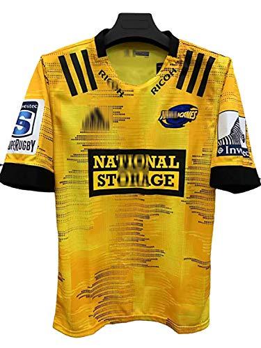GFGD 2020 Das neuseeländische Hurricanes Heim- und Auswärts-Rugby-Jersey Herren-Atmungsaktives kurzärmeliges Rugby-Sweatshirt für den Sport-Yellow-XXXL