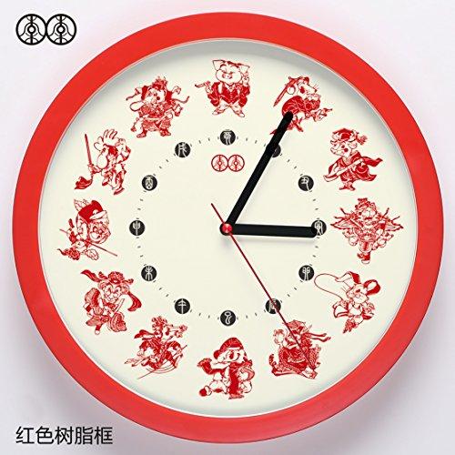 Gyps Horloge murale moderne silencieuse clock Children Wall Clock horloge de mur Art Rustique mur Horloge Horloge murale Art tableau mural signes du zodiaque chinois classique chinois le salon d' horloge quartz silencieux, 10 pouces, la nouvelle année lunaire, boîte en plastique rouge