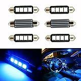 Ralbay 6pcs C5W 5050 4SMD 41mm/42mm Bleu Erreur Festoon Gratuit canbus Ampoule LED Lampe feston dôme DC 12V