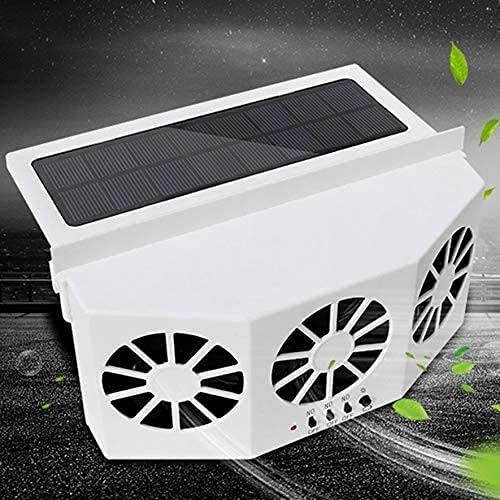 Aire Acondicionado Portatil Energía solar Vehículo de escape Ventilador Radiador Coche Refrigerador Fan Ventilación Auto Coche Ventana de Aire Solar Ventilación Aire Reserva Fresco Ventilación USB Ven