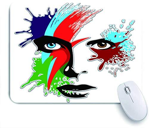 FOURFOOL Mauspad,David Bowie Bowies Augen Ziggy Stardust Expression Inspirierte Kunstwerke Bunte Spritzer,Laptop Tischunterlage wasserdichte Schreibunterlage für Büro Gaming Mauspads 240mm x 200mm