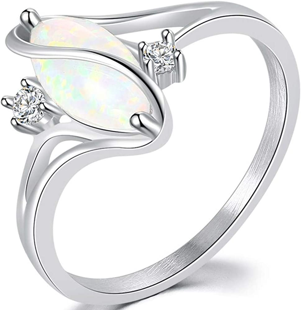 Jude Jewelers Stainless Steel Oval Shape Simulated Fire Opal Stone Wedding Engagement Promise Anniversary Ring