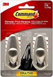 Command Forever Classic Metal Hook, Medium, Brushed Nickel, 2-Hooks (FC12-BN-2ES), Decorate Damage-Free - 1