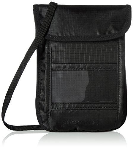 AmazonBasics - Portadocumentos de viaje para colgar con tecnología RFID - Negro