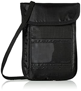 Amazon Basics - Portadocumentos de viaje para colgar con tecnología RFID - Negro