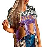 SLYZ Camiseta De Manga Corta De Verano para Mujer Camiseta Holgada con Cuello En V con Estampado De Leopardo para Mujer Camisa De Fondo para Mujer