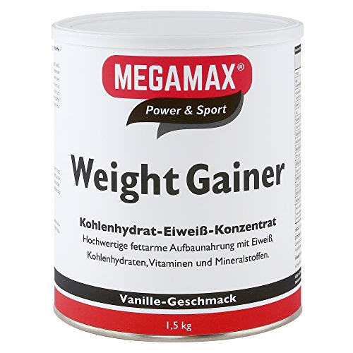 Megamax Weight Gainer Vanille 1,5 kg 0,5{05d86a3c0a1061c977f84980fd1ccbe583e9aba3a5e27af7037ceb90a8376602} Fett | Vitamine, hochwertige Kohlenhydrate & Proteine ideal für HardGainer u. Untergewicht | Aufbaunahrung für Massephase, Masseaufbau & Zunehmen