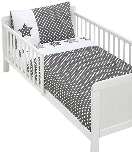 Briljant Baby Housse de Couette 100 x 135 cm avec 1 Taie d'Oreiller à Volant Plat 40 x 60 cm, gris anthracite et blanc