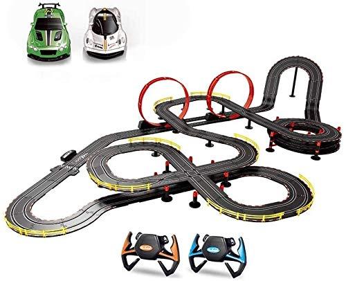 XUANQING Kinder verfolgen Anzug Spur Elektrotriebwagen Spur großes Spielzeug des Hauptweg Rennwagen zu begegnen (Farbe: Lenkrad + Handkurbel, Größe: 16,8 Mio.) (Color : Hand Crank, Size : 16.8m)