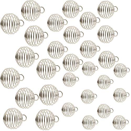 perfeclan 30 Colgantes de Jaulas de Cuentas en Espiral Chapados en Plata para Hacer Joyas (15 Mm, 25 Mm,