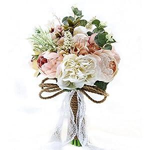 Jackcsale Bridal Wedding Bouquet,Artificial Bride Vintage Rustic Style Satin Roses Wedding Flower