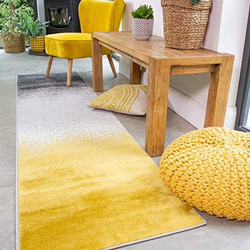 The Rug House Alfombra a Rayas y Bloques con diseño de sombas en Colores Mostaza, Amarillo y Gris, para la Sala de Estar, pasillos y/o dormitorios 60cm x 240cm