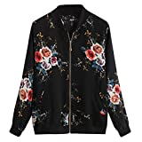 Toamen Womens Outwear Sale Clearance Ladies Chiffon Retro Floral Printing Zipper Up Loose Bomber Jacket Casual Coat Blouse Top Autumn Winter New(Black, 18)