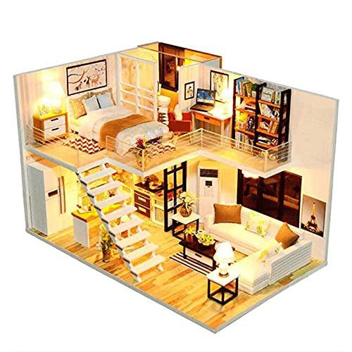 RDJSHOP Casa De Muñecas En Miniatura - Kit De Muebles Y Casa De Muñecas De Madera Hecha A Mano DIY, Escala 1:24, Juguetes Creativos De Casa De Muñecas, Modelo De Apartamento