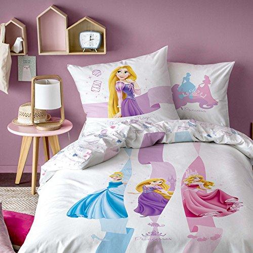 Disney Princesses Forever Parure, 100% Coton, Blanc, 140 x 200/63 x 63 cm - Taille française
