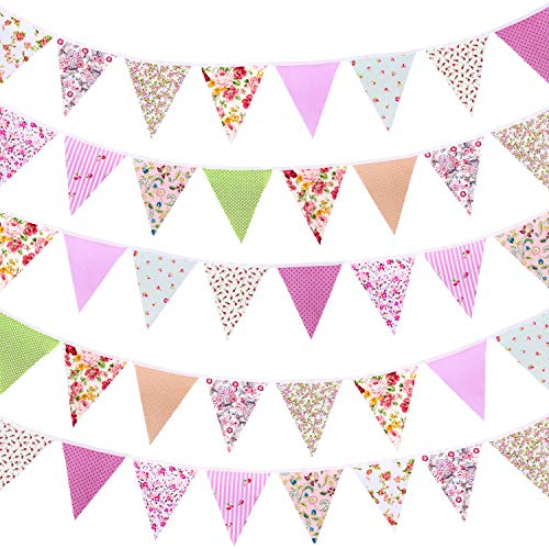 Whaline 40ft Fabric Bunting Banner Floral Vintage Reusable Cotton Triangle Flag Garland Decoration with 42pcs for Garden Wedding Baby Shower Birthday Parties
