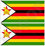 Simbabwe Flagge Afrika Rhodesien, afrikanischen 7,6cm (75mm) Bumper Sticker, Aufkleber Vinyl X2