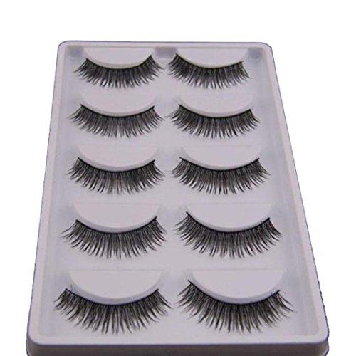 Faux-cils, IMJONO 5 paires de look naturel Faux cils volumineux Maquillage d'extension de cils (5 Paires, A)