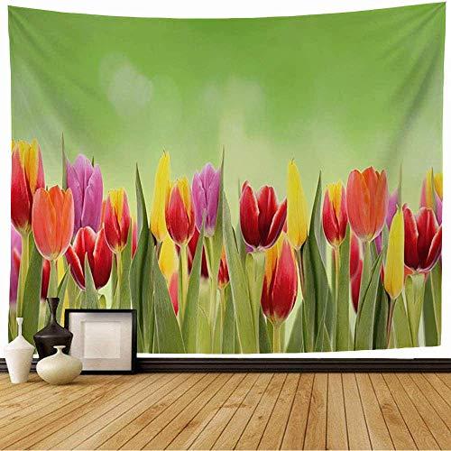 Tapiz de Pared Tapestry Césped Temporada Primavera Saludable Sol Crecer Tulipa Crecimiento Naturaleza Natural Largo Verde Texturas Medio ambiente Wall Hanging 80X60inch