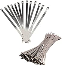 BestTong 14 Inches Stainless Steel Heavy Duty Exhaust Wrap Multi-Purpose Locking Cable Metal Zip Ties 100PCS