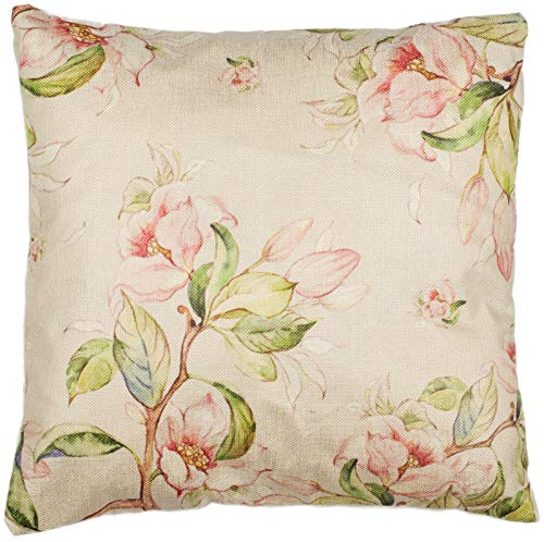 Puccybell Kissenbezug, Kissenhülle im Rosen Blumen Blüten Design, Digitaldruck Zierkissen Hülle für Kissen 45 x 45 cm KB011 (Creme Grün Rose)