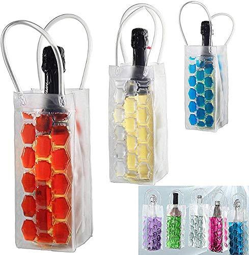 Wacemak1r Bolsa enfriadora de botellas de PVC, bolsa de hielo para vino tinto de PVC, gel de hielo para congelar champán enfriador de vino, 1 unidad (color al azar)
