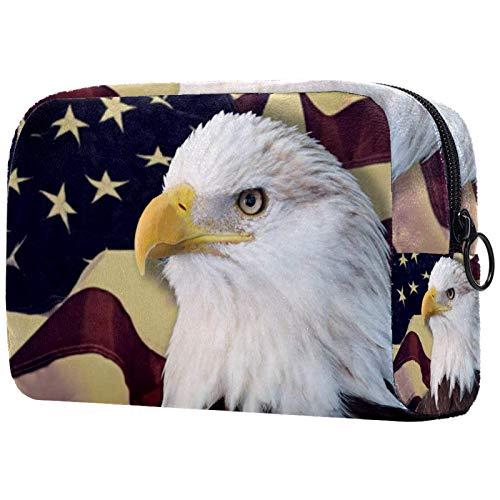 Bolsa de cosméticos Bolsas de Maquillaje para Mujeres, pequeña Bolsa de Maquillaje Bolsas de Viaje para artículos de tocador - �guila con Bandera Estadounidense Fuera de Foco