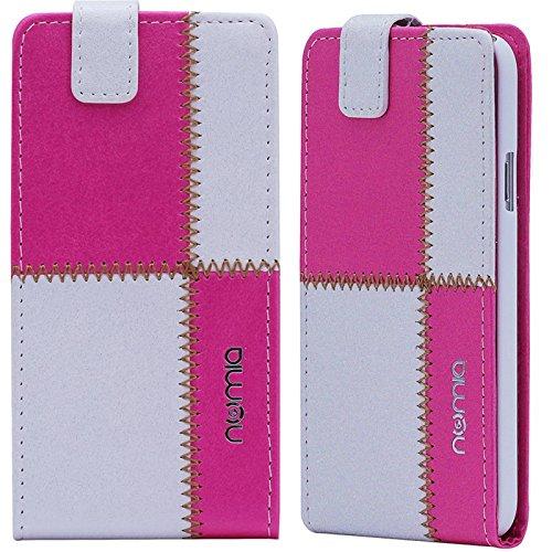 Huawei Ascend G630 Hülle, numia Handyhülle Handy Schutzhülle [Handytasche mit Standfunktion & Kartenfach] Pu Leder Tasche fürHuawei Ascend G630 Hülle Cover [Weiss-Pink]