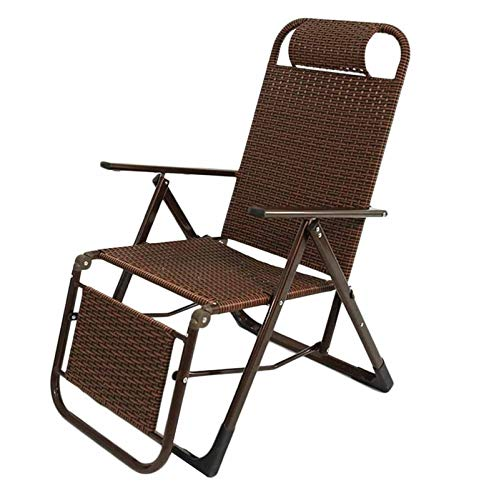 IJNBHU Patio lounger Deck Chair in Garden/Outdoors Folding Zero gravity chair Sun Lounger Deck Chair Rocking Recliner Garden Summer Cool Chair Bamboo Recliner Supports 185kgA