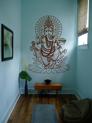 STICKERSFORLIFE Ik430 Wall Decal Sticker Room Decor Wall Art Mural Indian God Om Elephant Hindu Success Buddha India Ganesha Ganesh Hindu Welfare Bedroom Meditation Yoga