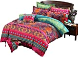 Arachnes Needle Bohemian Duvet Cover Set , Retro Printing Bedding Set Indian Mandala Floral Bedding, Ethnic Vintage Style Microfiber Quilt Cover with 2 Pillowcases (King Size)