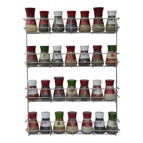 COPA Design 4Etagen Kräuter- und Gewürzregal | Spice Organizer Wand montieren oder Küche Schrank Aufbewahrung (einfach zu installieren) | Messungen: (bxdxh): 500x 66x 405mm | integrierte Gewürzregal für 4x 8Spice Potts