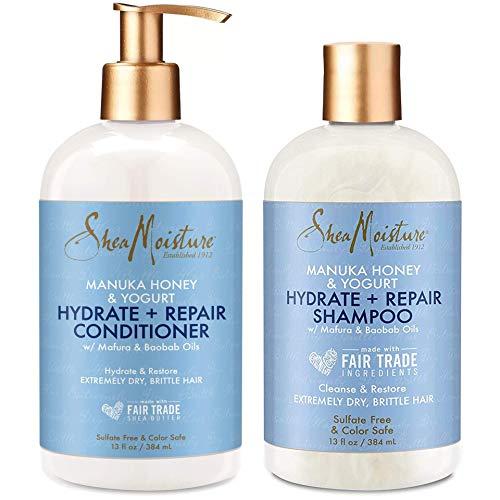 Shea Moisture Manuka Honey and Yogurt Hydrate+Repair Shampoo, Conditioner