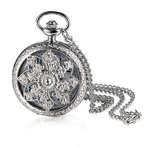 JewelryWe Retro Kamelie Blume Taschenuhr Damen Unisex Analog Quarz Uhr mit Halskette Kette Pocket Watch Geschenk Silber