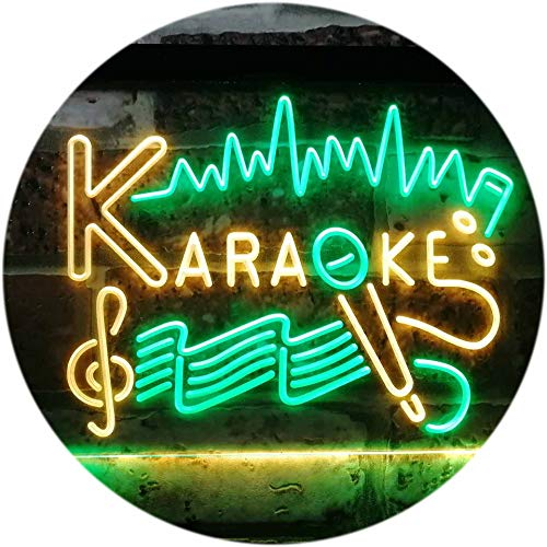 ADV PRO Karaoke Lounge Bar Club Home Music Dual Color LED Enseigne Lumineuse Neon Sign Vert et Jaune 300 x 210mm st6s32-i3156-gy