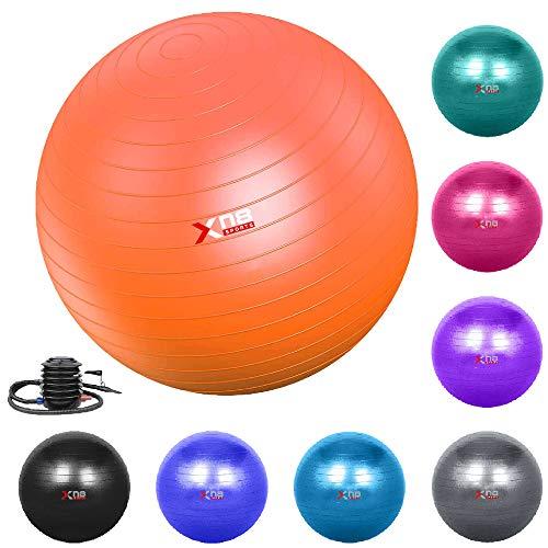Xn8 Gymnastikball, 55–85 cm, extra dick, Schweizer Ball mit Schnellpumpe,...
