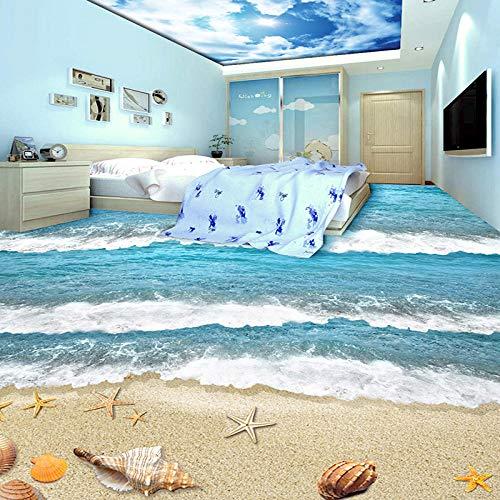 Nomte Pvc Autoadhesivo Impermeable 3D Baldosas Etiqueta De Papel De Pared Moderna Playa Mar Ola Niños Dormitorio Sala De Estar Desgaste Murales De Piso-450X300Cm