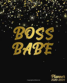Boss Babe 2020-2024 Planner: Inspirational Golden Glitter Five Year Monthly Planner & Organizer with 60 Months Spread View - Trendy 5 Year Calender, Diary, Schedule Agenda & Notebook.
